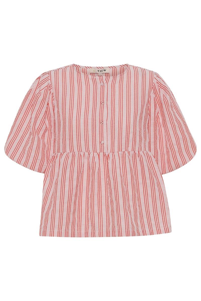 Køb A-View – Bluse – Rikka Blouse – Red/white