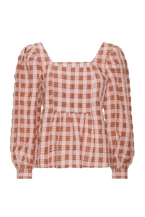 A-View Bluse Fanny Check Powder Front