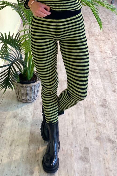 Forudbestilling - A-View - Leggings - Violet knit pant - Black/Green (Levering i oktober)