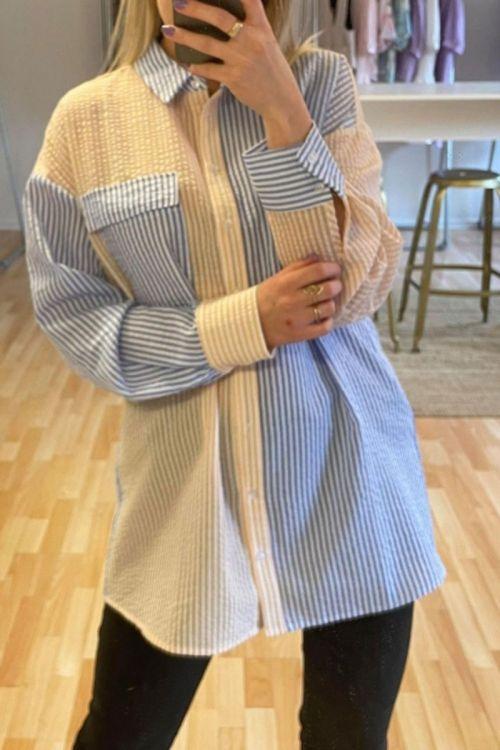 A-View Skjorte Mila Shirt Light Blue/Yellow Hover