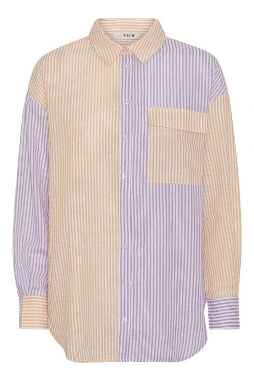 A-View Skjorte Mila Shirt Purple/Yellow Front