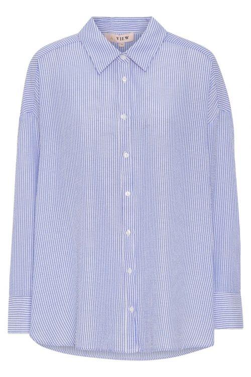 A-View Skjorte Sonja Shirt Blue/white Front