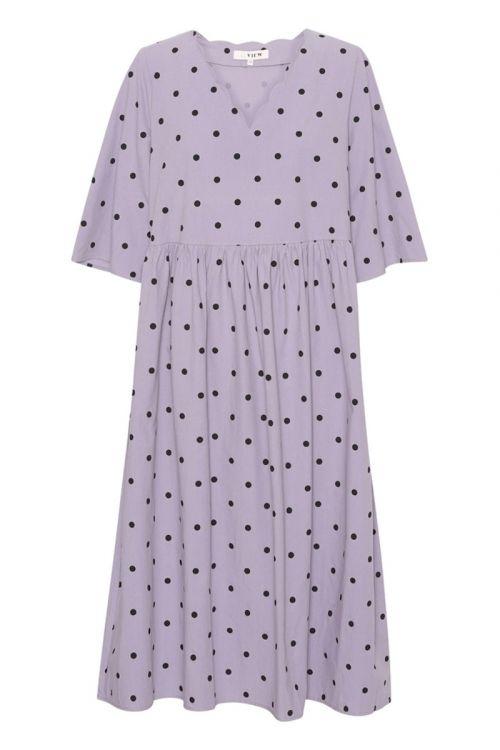 A-View - Kjole - Sassi Midi Dress - Purple With Black Dots