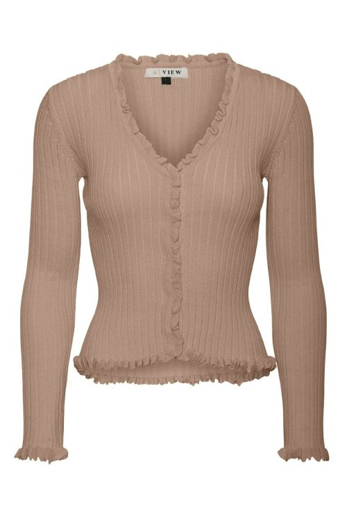 A View Bluse Fabian Cardigan Camel Front