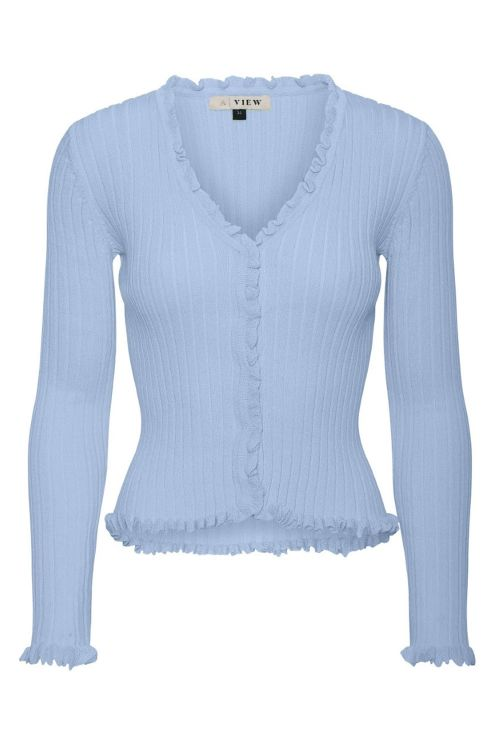 A View Bluse Fabian Cardigan Light Blue Front