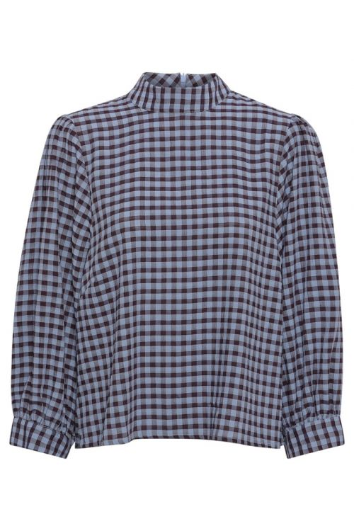 A-View Bluse Lady Blouse Blue Check Front