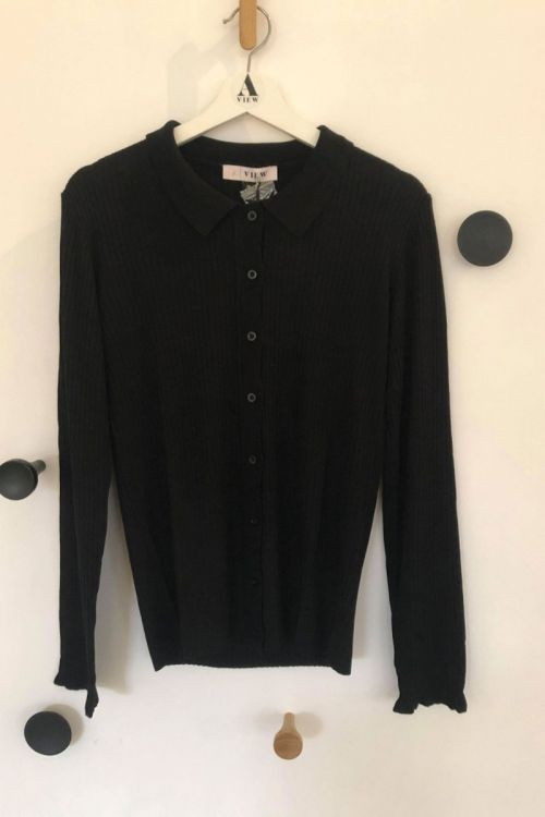 A-View Bluse Masja LS Polo Black Front