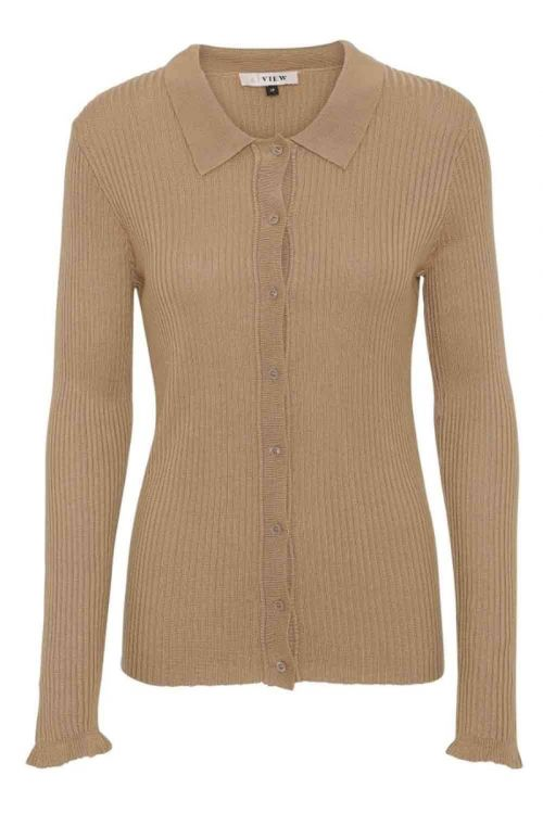 A-View - Bluse - Masja LS Polo - Camel