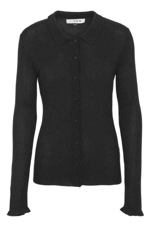 A-View - Bluse - Masja LS Polo - Black