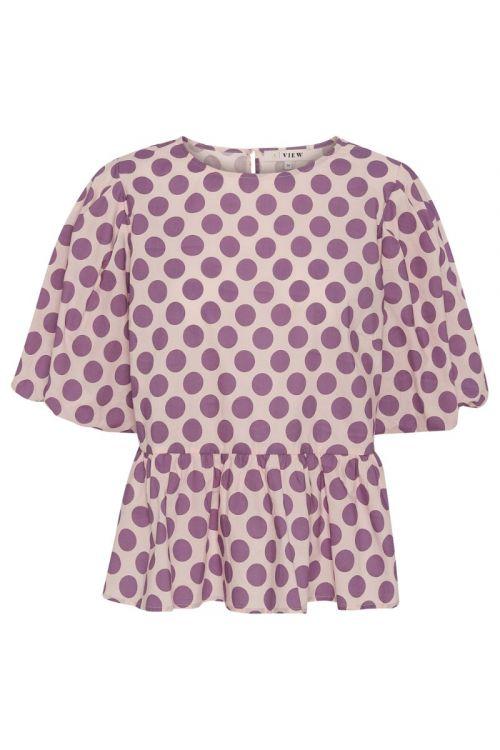 A-View - Bluse - Sabine Blouse - Bubblegum With Purple Dot