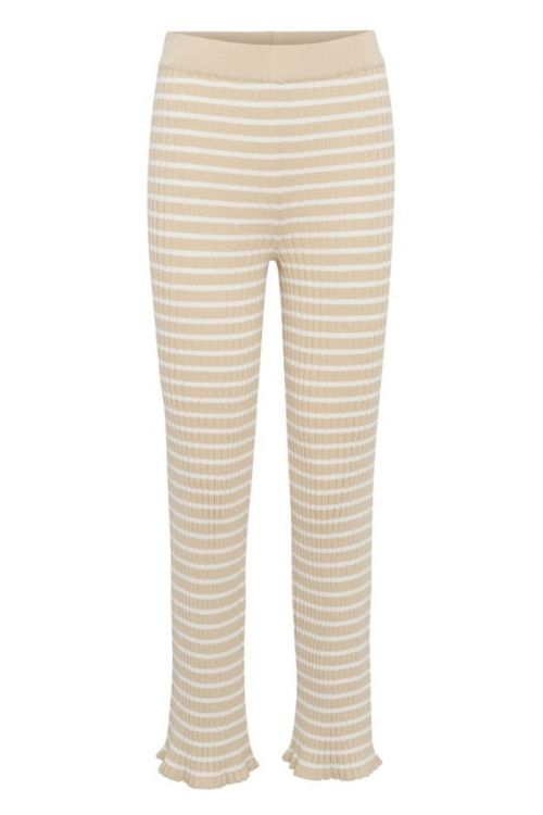 A-View - Bukser - Kira Knit Pant - Beige/Off white