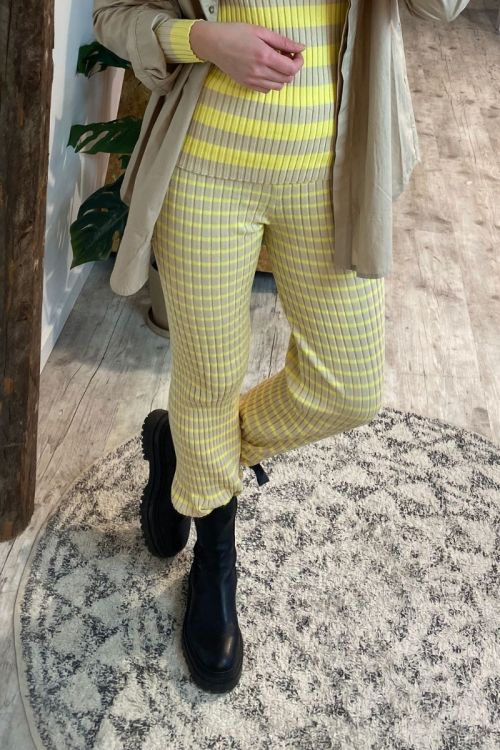 A-View - Bukser - Kira Knit Pant - Beige/Yellow