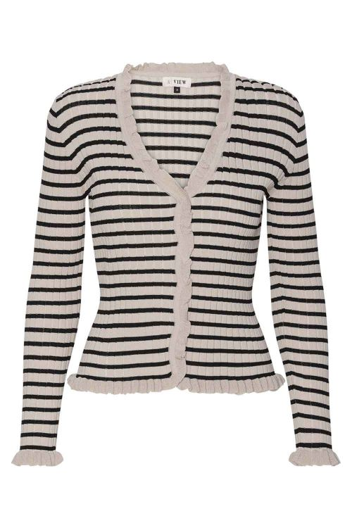 A-View Cardigan Fabian Cardigan Black/White Pepper Front