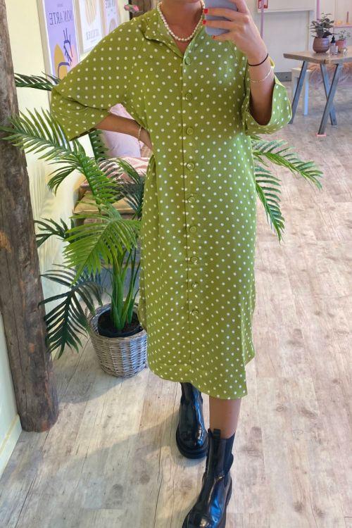 A-View - Kjole - Alita Dress - Forest green/white
