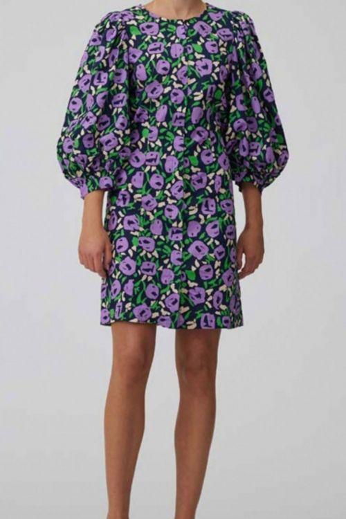 A-View - Kjole - Anni Dress - Blue/Purple/Green print