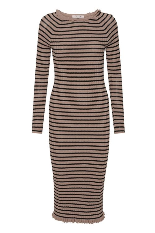 A View Kjole Jeanie Knit Dress Black/Camel Stripe Front