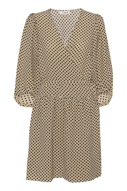 A-View Kjole Oda Dress Beige with Dots Front
