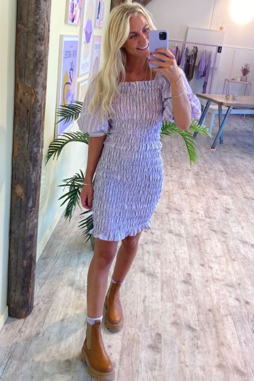 A-View - Kjole - Rikka Dress - Purple/White