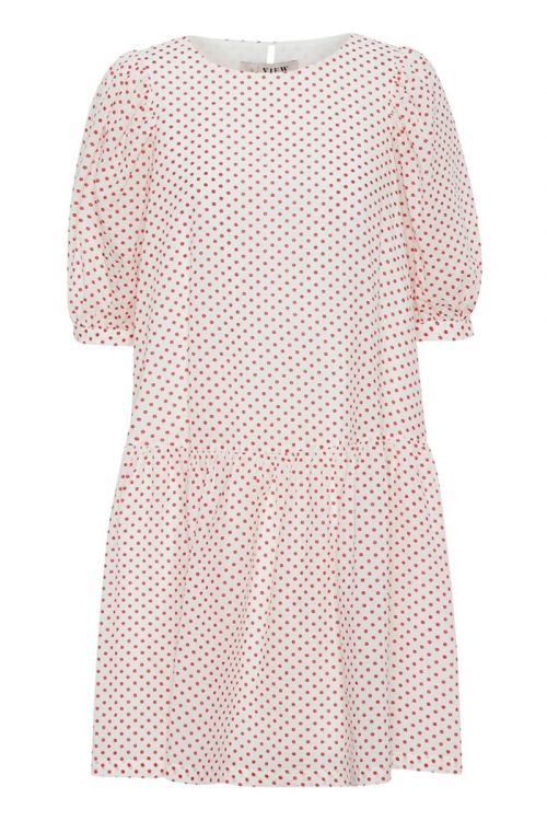 A-View - Kjole - Rosa Dress - White With Red Dots