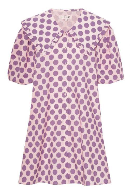 A-View - Kjole - Sabine Dress - Bubblegum With Purple Dot
