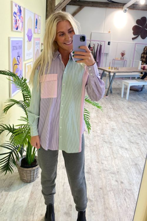 A-View Skjorte Jacobina Shirt Purple/Mint/Rose Hover
