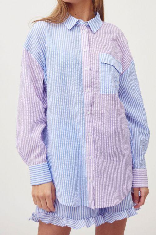 A-View - Skjorte - Mila Shirt - Blue/Lavender