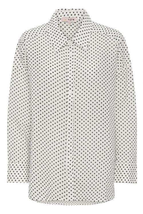 A-View - Skjorte - Solva Shirt - White With Black Dots