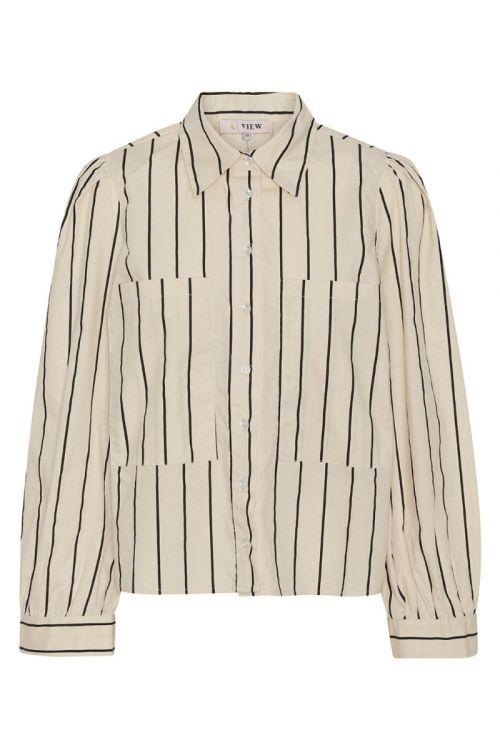 A-View - Skjorte - Tessie Shirt - Off White/Black Stribe