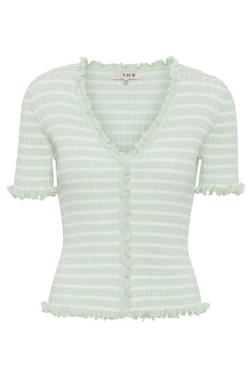 A-View T-shirt Fabia SS Tee Pale mint/Off white Front