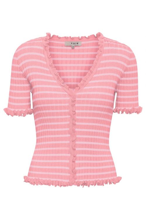 A-View T-Shirt Fabia SS Tee Bubblegum/Blossom Front