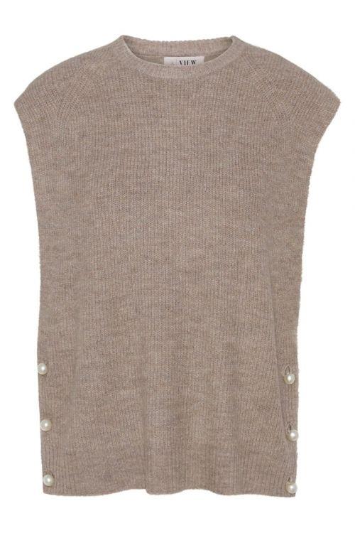 A-View Vest Ozilla Knit Vest Beige Front