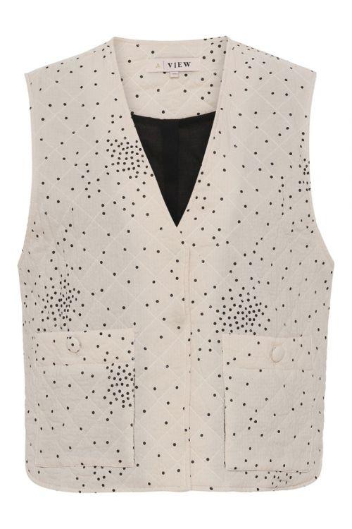 A-View Vest Rubi Vest Off White With Black Dot Front