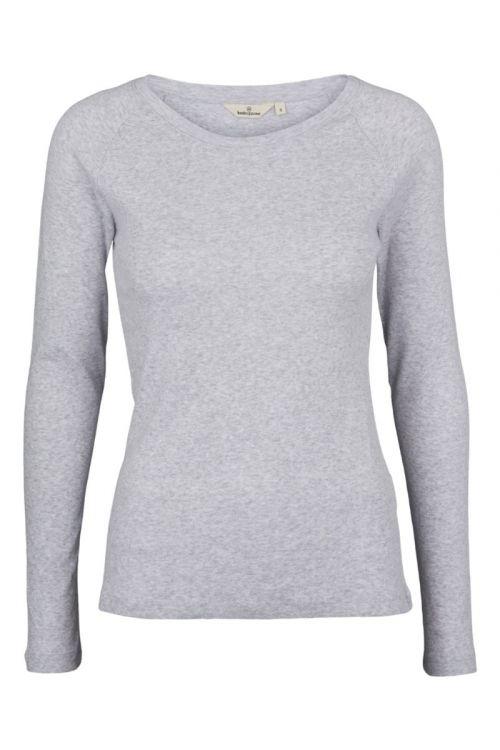 Basic Apparel Bluse Arense LS Tee Organic Grey Melange Front