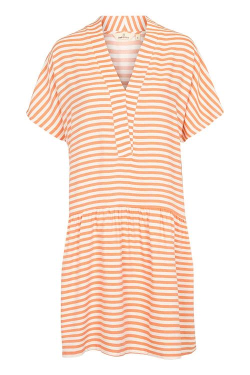Basic Apparel Kjole Jenice Dress Tomato Cream Stripe Front