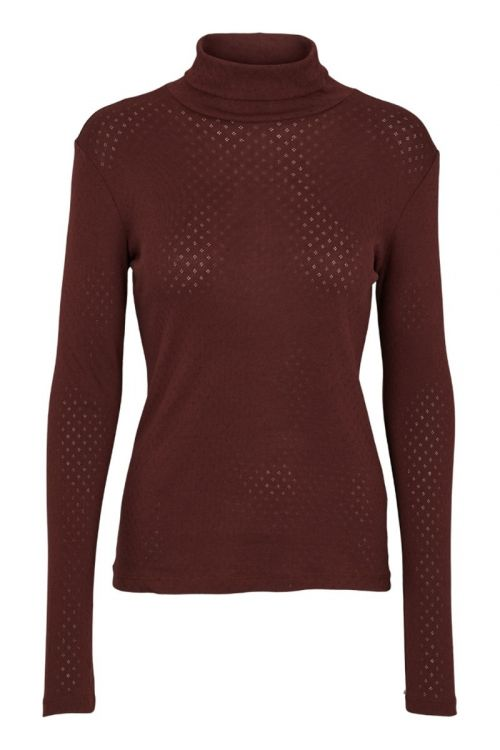 Basic Apparel Bluse Arense Roll Neck Organic Bitter Chocolate Front
