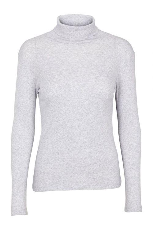 Basic Apparel Bluse Arense Roll Neck Organic Grey Melange Front