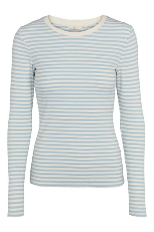 Basic Apparel - Bluse - Ludmilla LS Tee - Cashmere Blue/Whisper White