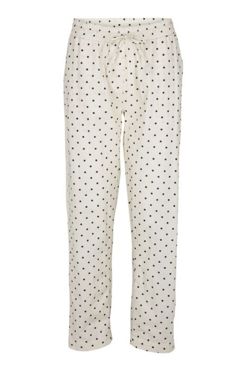 Basic Apparel - Bukser - Harriet Pant Dot -  Off White/Black