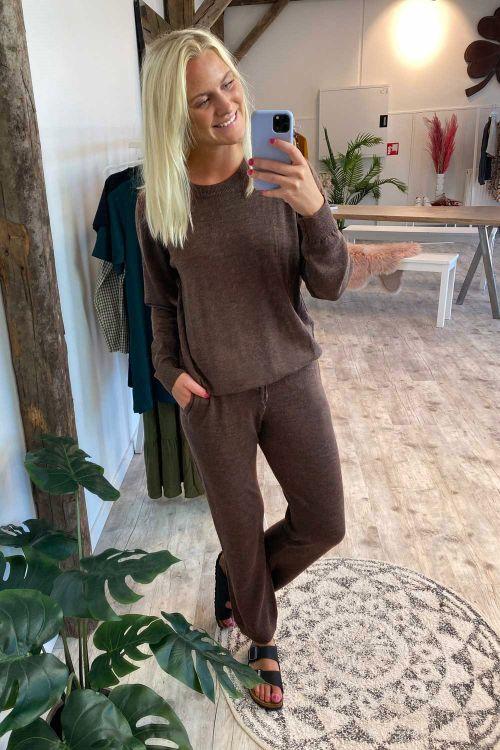 Basic Apparel Bukser Vera Pants Brown Melange Hover