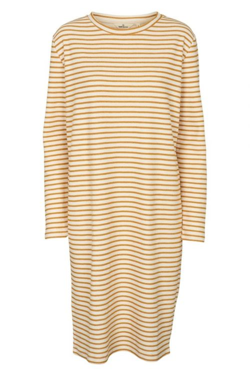 Basic Apparel Kjole Vendela LS Dress Inca Gold/Off white Front