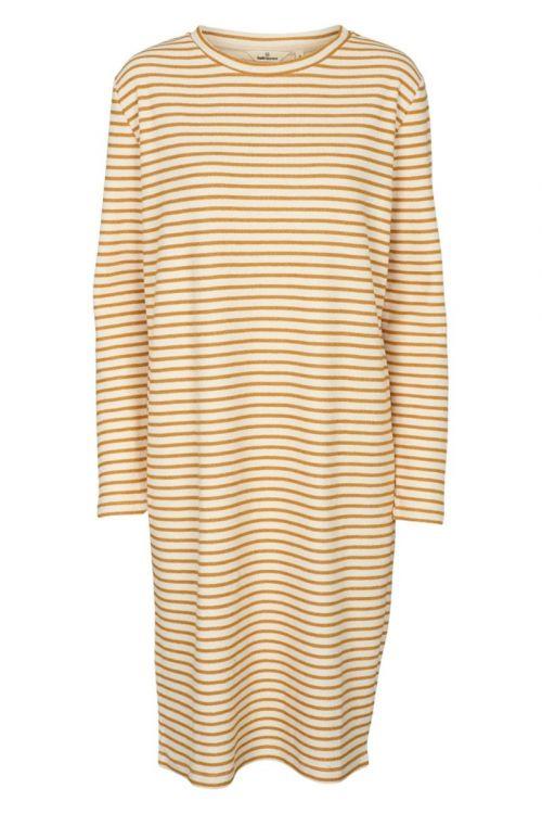Basic Apparel Kjole Vendela LS Dress Inca Gold/Off white Front