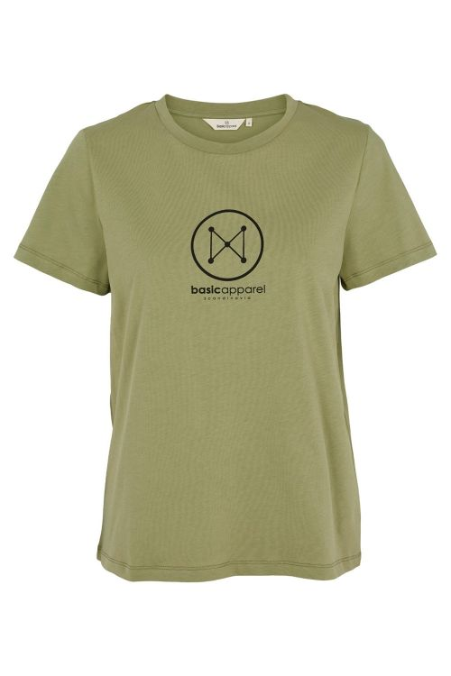 Basic Apparel T-shirt Logo Tee Oil Green Front