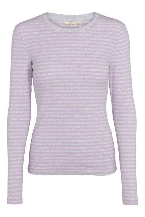 Basic Apparel - T-shirt - Ludmilla LS Tee - Lavendula/Light Grey