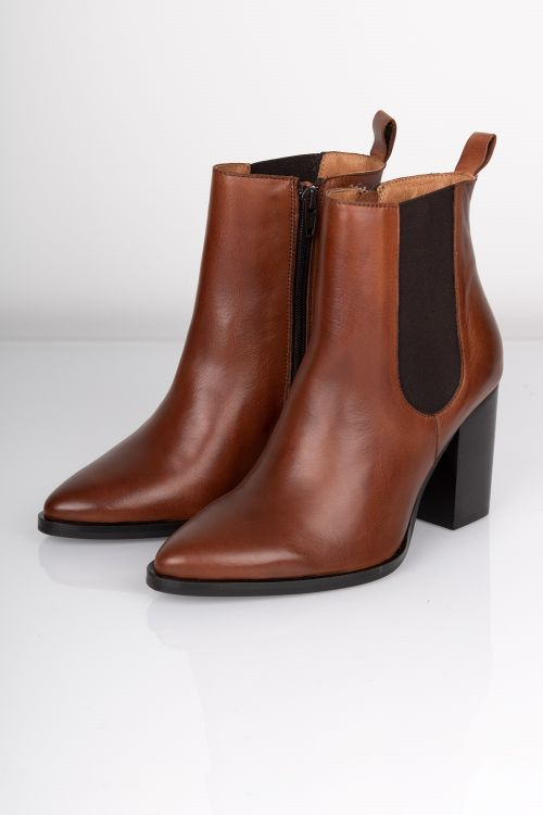 Bianco Sko Judia LEather Boot Cognac Front