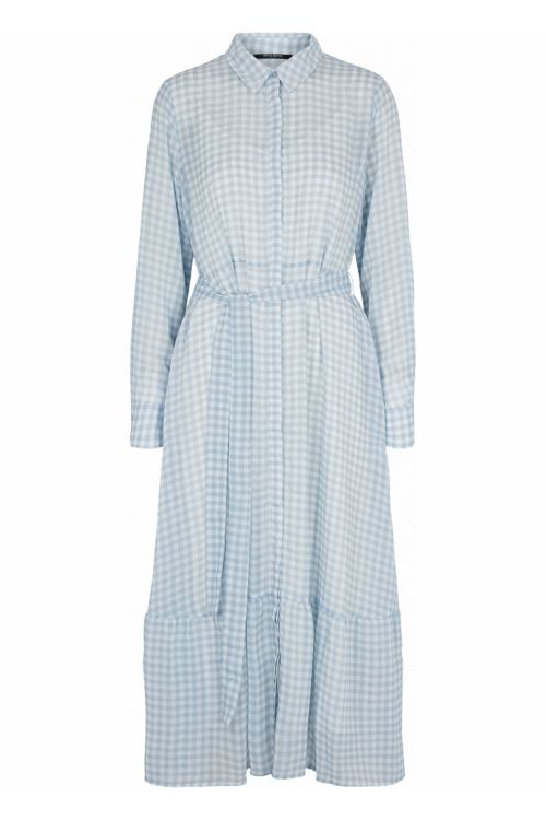 Bruuns Bazaar Kjole Checks Kora Dress Blue Mist Front
