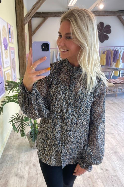 Bruuns Bazaar - Skjorte - Vervain Sabell Shirt - Modern Artwork Dark