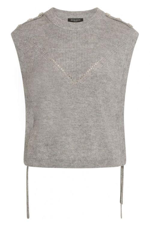 Bruuns Bazaar - Vest - Parisa Regiza Knit Vest - Light Grey Mel