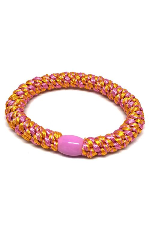 By Stær - Hårelastik - Braided Hairties - Multi Pink/Orange