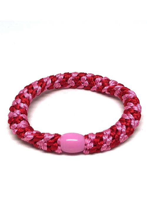 By Stær - Hårelastik - Braided Hairties - Multi Red/Pink
