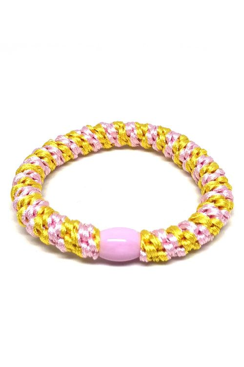 By Stær - Hårelastik - Braided Hairties - Multi Light Pink/Yellow